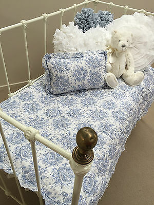 Baby Boys Girl Cot Quilt & Cushion Blue & White French Provincial Nursery Set