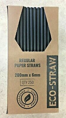 Eco-Straw Black Regular 3Ply Paper Drinking Straws Disposable Party Tableware