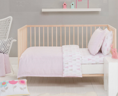 3 pc Baby Girls Lily Cot Cover, Quilt & Pillow Case Crib Nursery Bedding