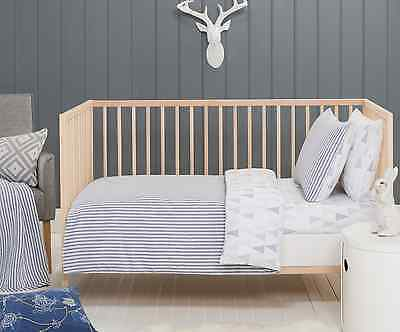 3 pc Baby Boys Cooper Blue White Cot Quilt Cover, Pillow Case &  Wool Quilt Set