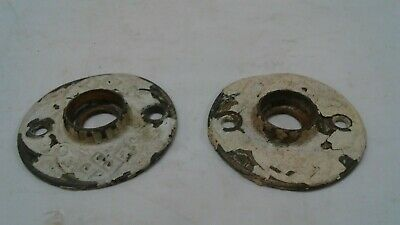 Antique Salvaged Pair cast bronze Brass Round Door Knob ornate Rosettes 1 7/8""