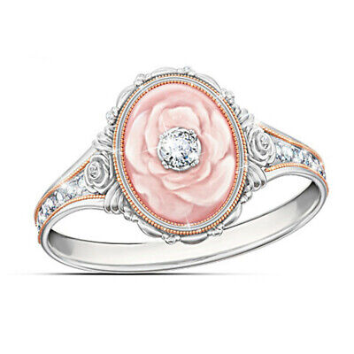 Elegant Women Wedding 925 Silver White Sapphire Floral Ring Two Tone Jewelry