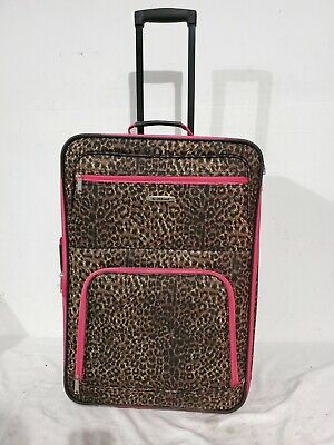 """$250 Rockland 24"""" Medium Luggage Rolling Wheels Suitcase Brown Pink Leopard"""