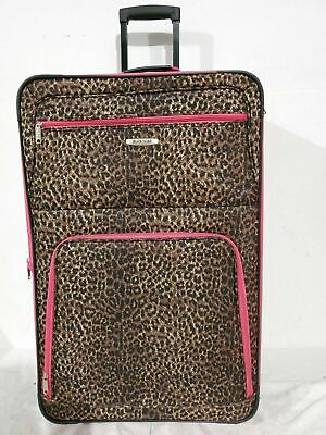 """$260 Rockland 28"""" Large Luggage Rolling Wheels Suitcase Leopard Print Check In"""