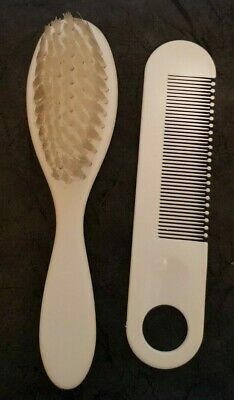 Baby's Soft Bristle Brush and Comb Set White