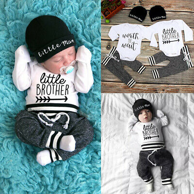 AU Newborn Baby Boy Romper Jumpsuit Tops + Long Pants + Hat Outfits Clothes Set