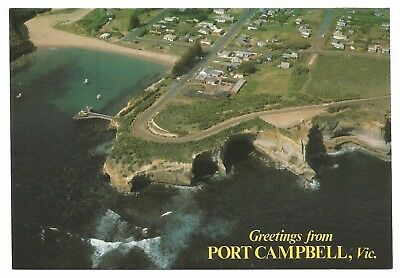 VIC - c1980s POSTCARD - AERIAL VIEW OF PORT CAMPBELL, VICTORIA