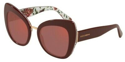 New Dolce /& Gabbana DG 4346 3202D0 Bordeaux on Rose//Peony with Violet Sunglasses