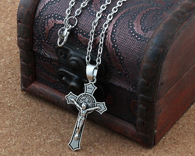 St Benedict Crucifix Cross Pendant and Chain - Touched to Relic of St Benedict