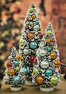 "Whimsy Bottle Brush Sisal Christmas Tree White Colorful Ornaments 9"" - 1 Tree"
