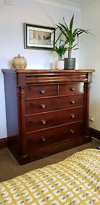 Large Antique Victorian Scottish Mahogany Chest Of Drawers