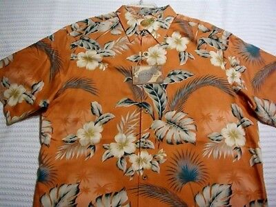 Caribbean Roundtree /& Yorke Blue Brown Floral Print S//S Button Down Shirt NWT