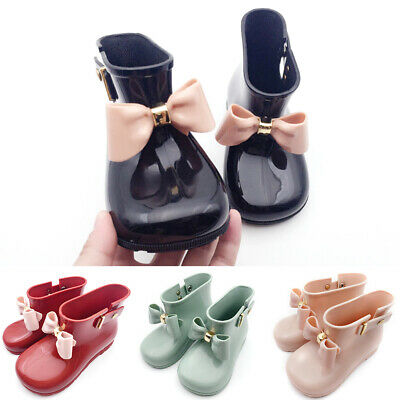 Baby Kids Infant Rain Girls Boots Bow Jelly Cute Princess Rubber Shoes Non-slip
