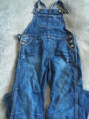 H & M Boys Dark Blue Denim Long Leg Dungarees Aged 6-7 Years