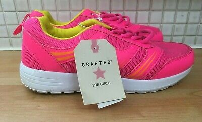 CRAFTED Girls Kids Mesh Lace Trainers Size 3/36 BNWT* Pink/Yellow Uk Freepost