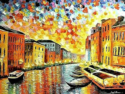 "Leonid Afremov-""Venice-Grand Canal""-Original Oil/Gall Wrapped Canvas/Signed/COA"