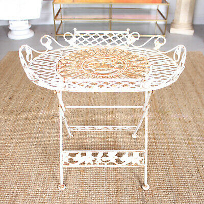 Antique Folding Metal Side Table Edwardian Plant Stand Iron Indoor Garden