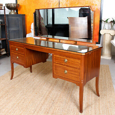 Antique Vintage Dressing Table Mahogany MAPLE & CO Twin Pedestal Kneehole Mirror