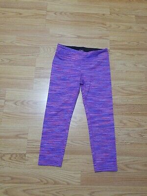 Athleta Girl Chit Chat Capri Purple Spacedye Stripe Legging Pant Crop Size L 12