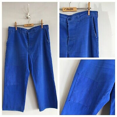 "Vintage French Cobalt Blue Cotton Chore Workwear Trousers Patched Pants W34"" 35"""
