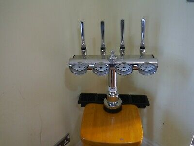 CHROME 4 LINE T BAR ,BEER PUMP,4 OUT FONT TAPS AND HANDLES STUNNING PUB MAN Cave