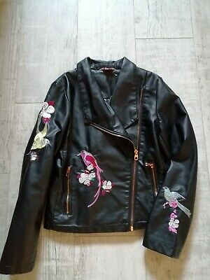 TED BAKER Girls Faux LEATHER Biker JACKET 11 Years BLACK Embroidered BIRDS