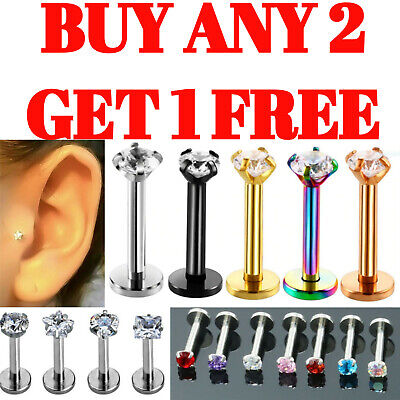 Gem Labret Monroe Tragus Helix Bars Cartilage Nose Hoop Ear Lip Stud Piercing