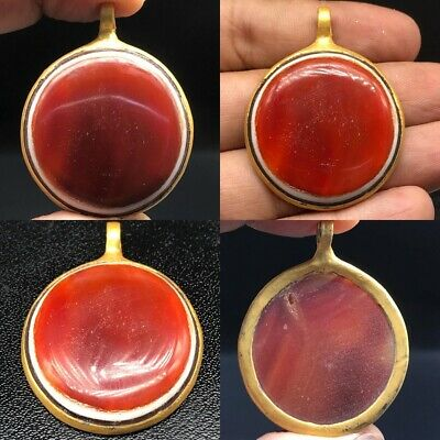 Beautiful rare Antique Old Agate Stone Gold Plated Pendant #A18