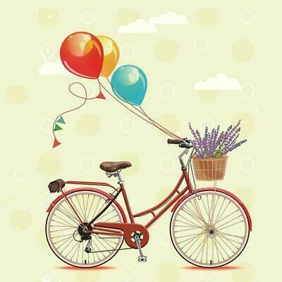 Vintage Napkins bicycle with balloons Decoupage art paper scrapbook