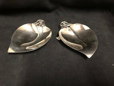 Set Of Two Tiffany & C0. Sterling Silver Leaf Shaped Dishes