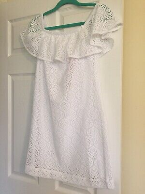 $178 NEW Lilly Pulitzer NEVIE DRESS White Swirling Leaf LACE Off The Shoulder L