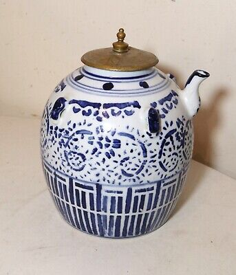 large antique Chinese blue & white transfer ware bronze pottery porcelain teapot
