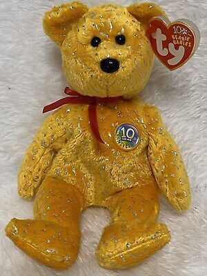 HOLY FATHER the Bear Gold Hang Tag 8.5 inch MWMTs Stuffed Toy TY Beanie Baby