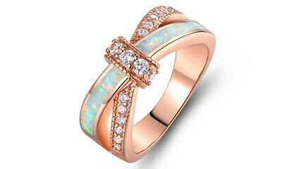 Fashion Rose Gold Filled Fire Opal Rings Women Jewelry Sapphire Ring Size 6-10