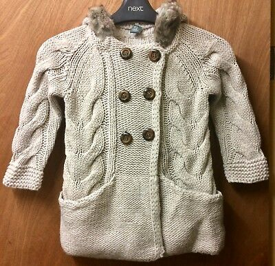 👧🏼 Age 5 Years Old Zara Girls Cardigan With Faux Fur Trimmed Hood BNWT 👧🏼