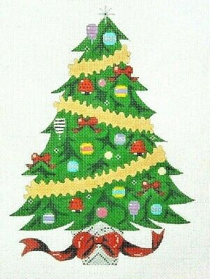 "Handpainted Needlepoint Canvas, Christmas Tree w/stitch quide, 18"" mesh, NEW"