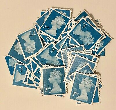 [100] 2nd Class Unfranked Stamps   Off Paper   No Gum   Security Tabs   The best