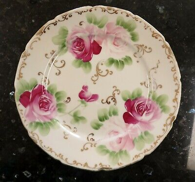 NIPPON HP Handpainted Plate * Pink & Red Roses * Gold Scrolls