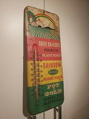 Rainbow Plant Food Metal Thermometer Field And Barn Fertilizer Advertising Sign