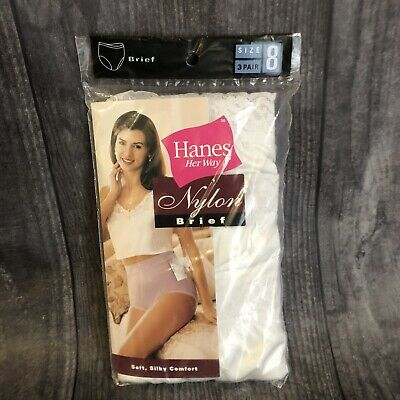 Vtg NIP 3 Prs 1996 Hanes Her Way Hi-Cut Nylon Briefs Panties Lace Trim Size 8