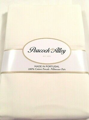 Peacock Alley 2 Ivory Standard Pillowcases 100% Crisp Cotton Percale New $85