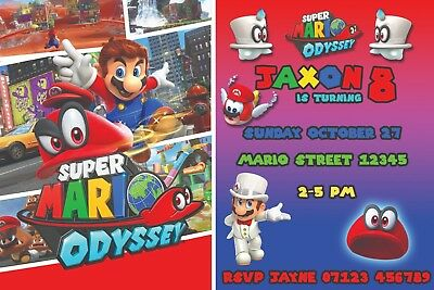 SUPER MARIO Personalised Birthday Party Invitations with FREE envelopes! x 10