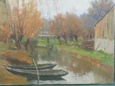 Early 20th Century French Impressionist Oil Indistinctly Signed Quiet Backwater