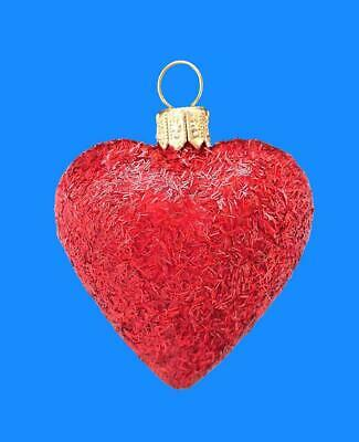 Glitter Red Heart European Blown Glass Christmas Tree Ornament Xmas Decoratio