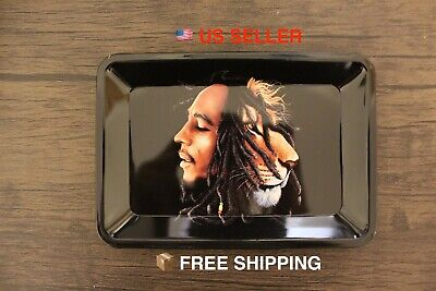 """Bob Marley Metal Rolling Tray Bong RAW Style Cigarette Rolling papers 7""""x5"""""""