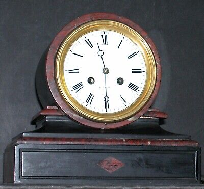 Antique French Marble Rouge Mantle Clock 1855 Gold Vincenti Gracechurch St. 10""