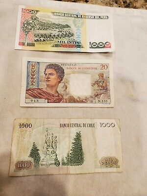 Vintage Mixed Foreign World Currency Paper Money  Chile, tahiti,peru