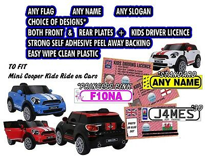2 X EXACT Size Personalised Number Plates Kids Ride On