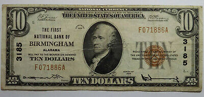 1929 First National Bank of Birmingham, Alabama $10 NB Note Very Fine