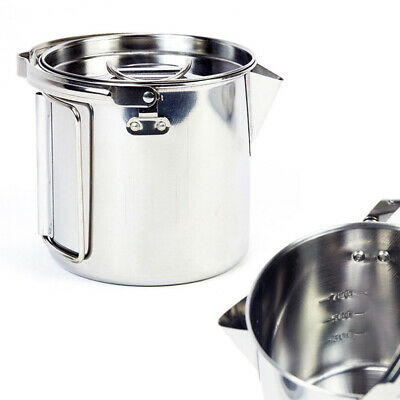 1.2L Stainless Steel Outdoor Picnic Camping Cooking Kettle Hanging Pot/&Lid A2M8
